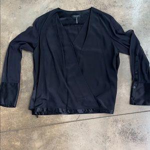 rag & bone Black Silk Blouse Sheer Sleeves